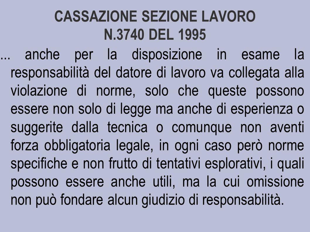 CASSAZIONE SEZIONE LAVORO N.3740 DEL 1995