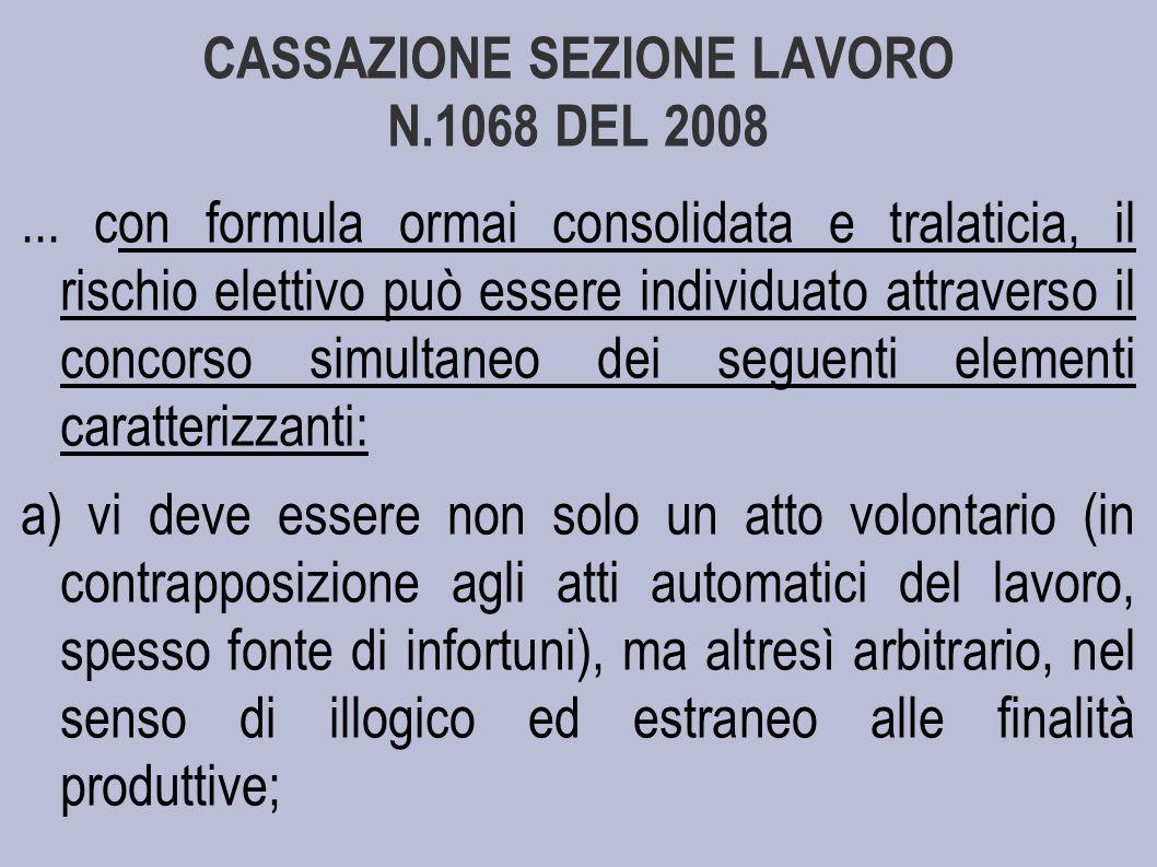 CASSAZIONE SEZIONE LAVORO N.1068 DEL 2008