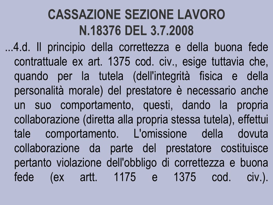 CASSAZIONE SEZIONE LAVORO N.18376 DEL 3.7.2008