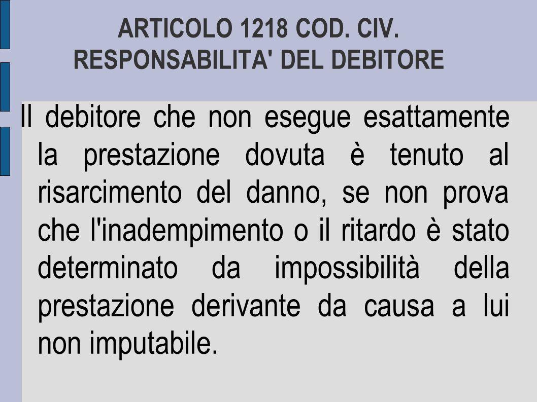 ARTICOLO 1218 COD. CIV. RESPONSABILITA DEL DEBITORE