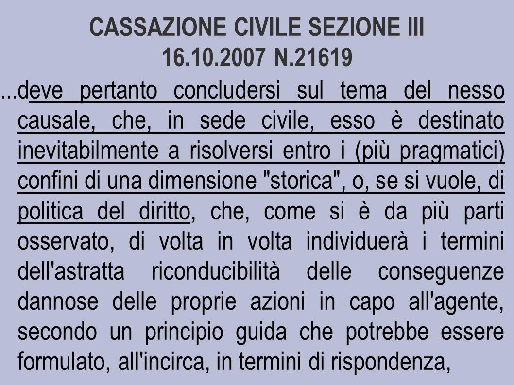 CASSAZIONE CIVILE SEZIONE III 16.10.2007 N.21619