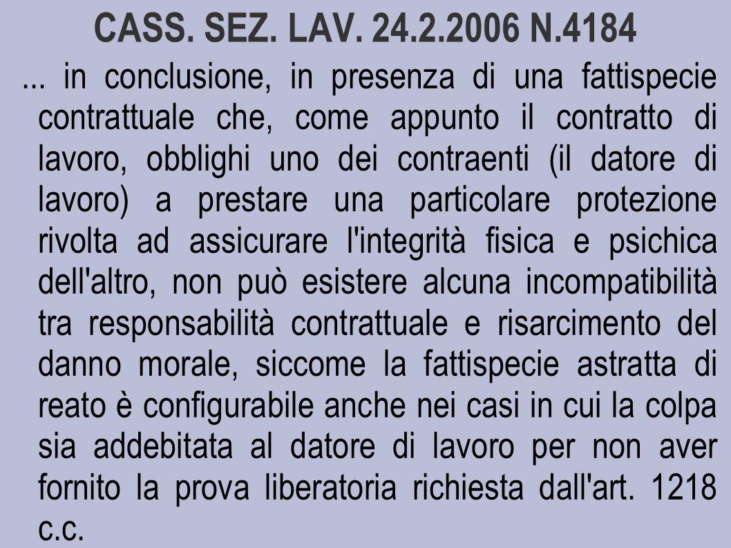 CASS. SEZ. LAV. 24.2.2006 N.4184