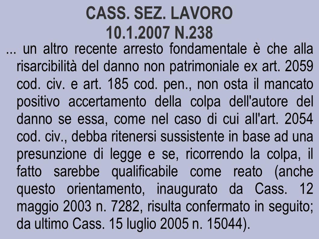 CASS. SEZ. LAVORO 10.1.2007 N.238