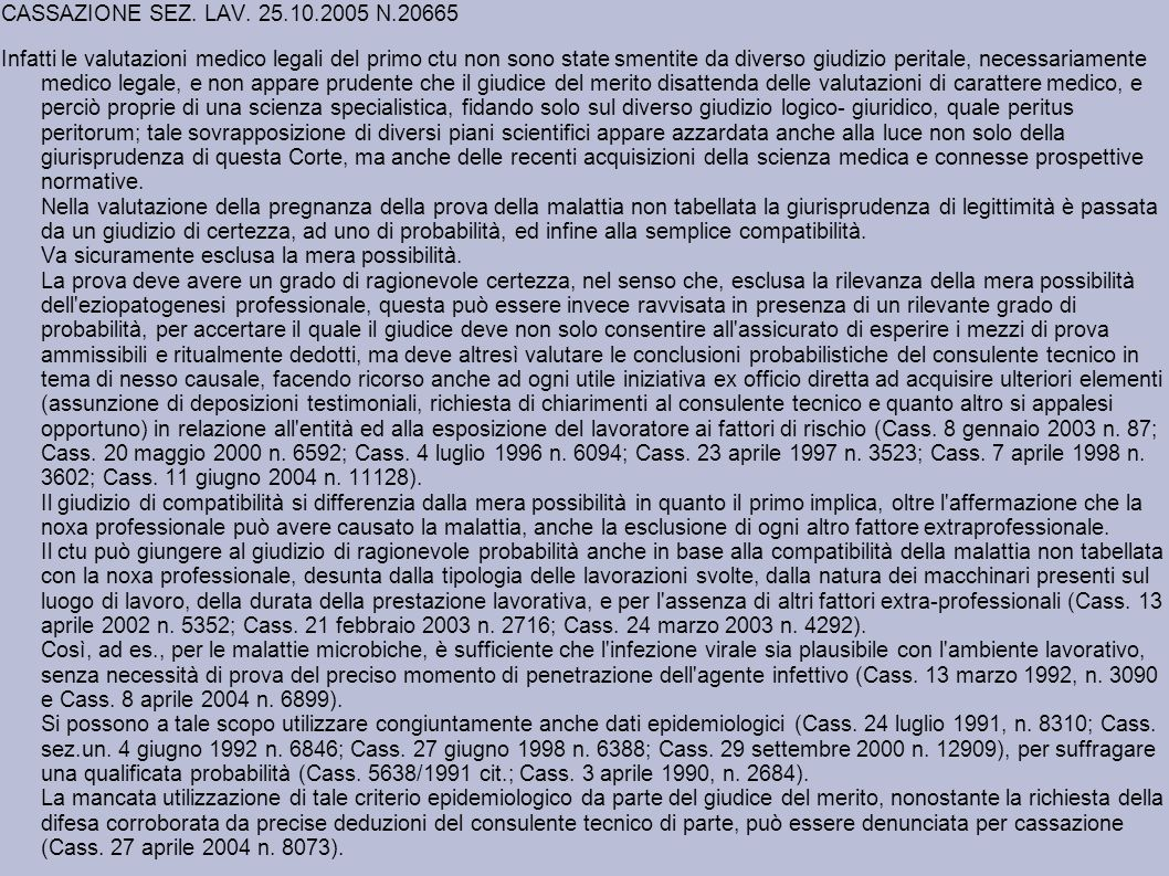 CASSAZIONE SEZ. LAV. 25.10.2005 N.20665