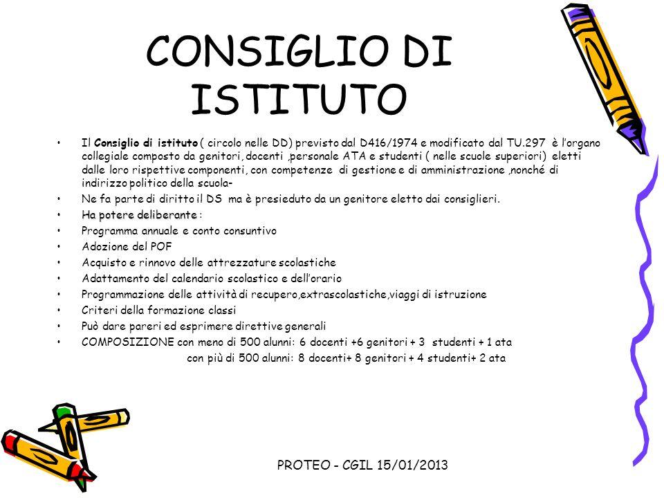CONSIGLIO DI ISTITUTO PROTEO - CGIL 15/01/2013