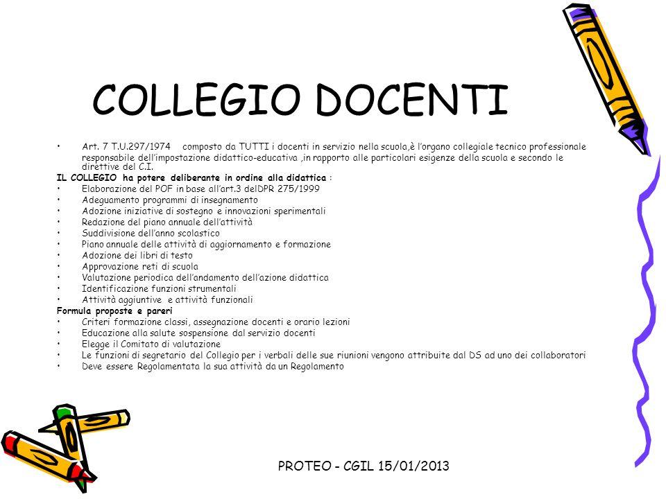 COLLEGIO DOCENTI PROTEO - CGIL 15/01/2013