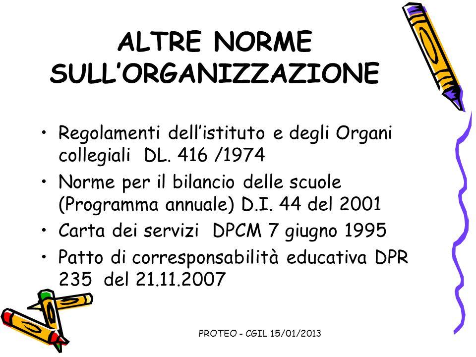ALTRE NORME SULL'ORGANIZZAZIONE