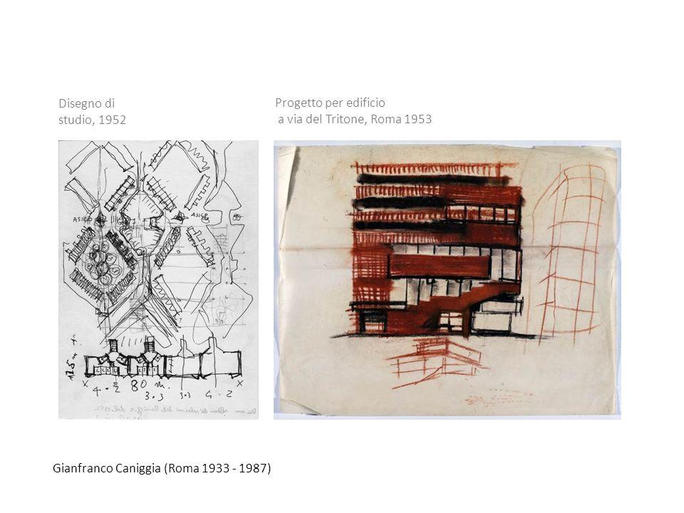 Disegno di studio, 1952 Progetto per edificio. a via del Tritone, Roma 1953.
