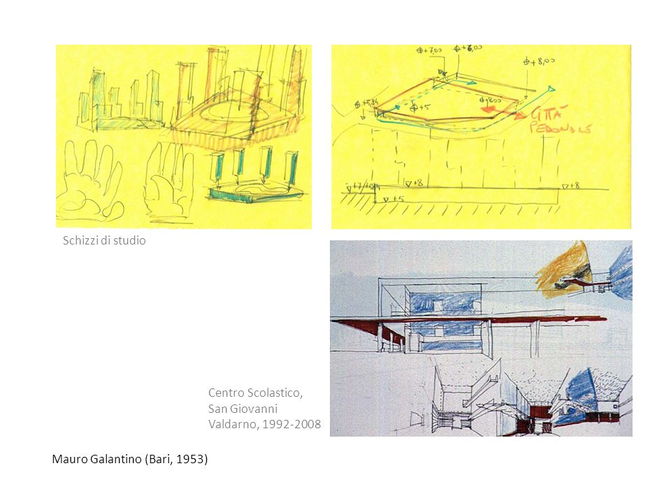 Schizzi di studio Centro Scolastico, San Giovanni Valdarno, 1992-2008 Mauro Galantino (Bari, 1953)