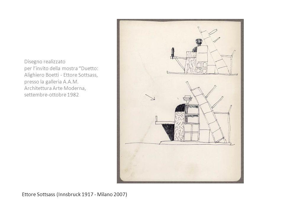 Disegno realizzato per l'invito della mostra Duetto: Alighiero Boetti - Ettore Sottsass, presso la galleria A.A.M.