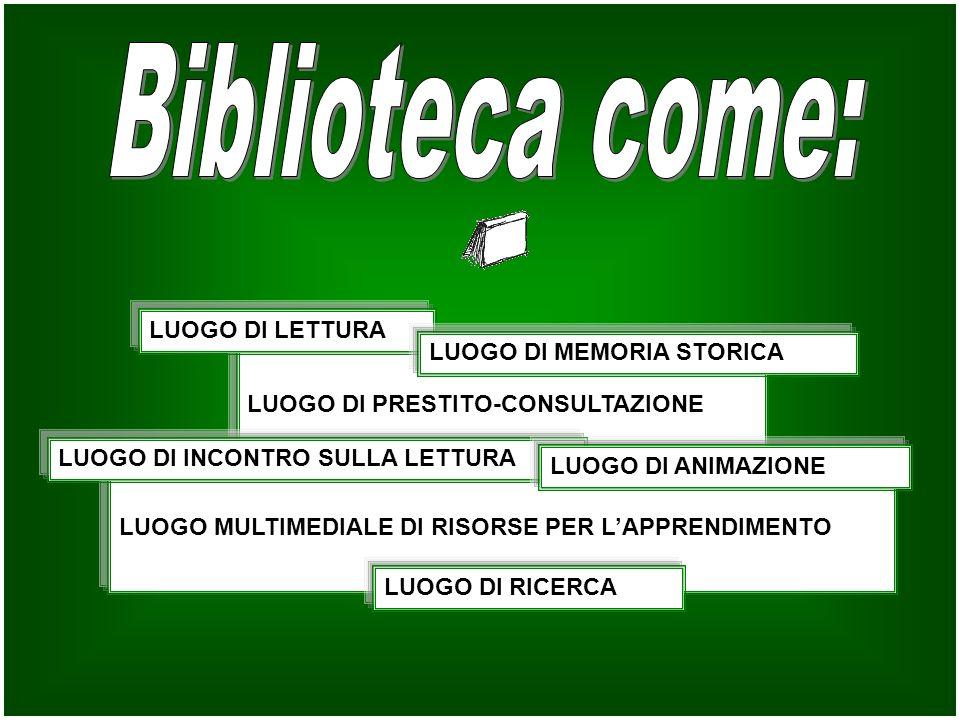 Biblioteca come: LUOGO DI LETTURA LUOGO DI MEMORIA STORICA