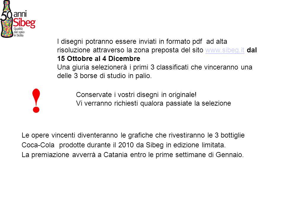 I disegni potranno essere inviati in formato pdf ad alta risoluzione attraverso la zona preposta del sito www.sibeg.it dal 15 Ottobre al 4 Dicembre