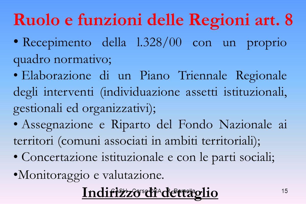 Ruolo e funzioni delle Regioni art. 8