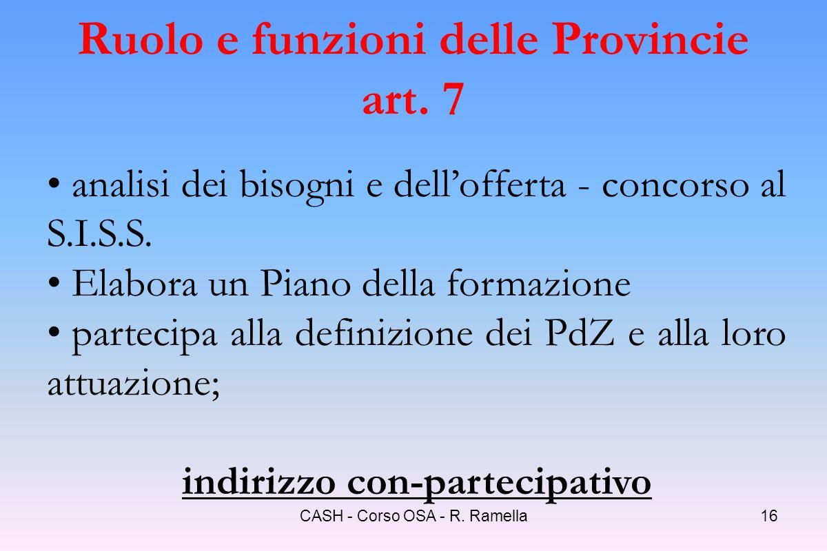 Ruolo e funzioni delle Provincie art. 7