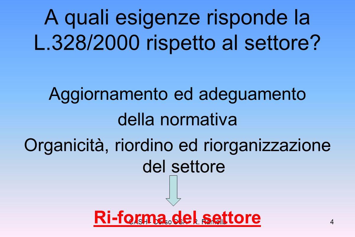 A quali esigenze risponde la L.328/2000 rispetto al settore