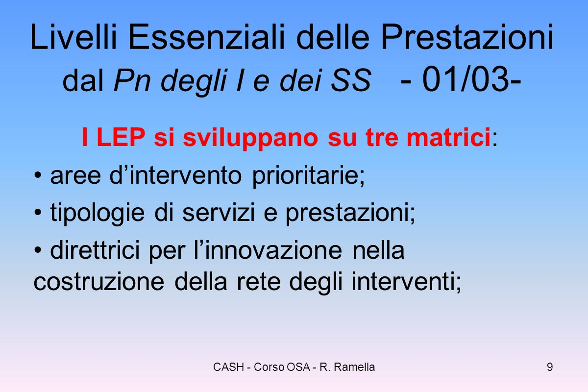 Livelli Essenziali delle Prestazioni dal Pn degli I e dei SS - 01/03-