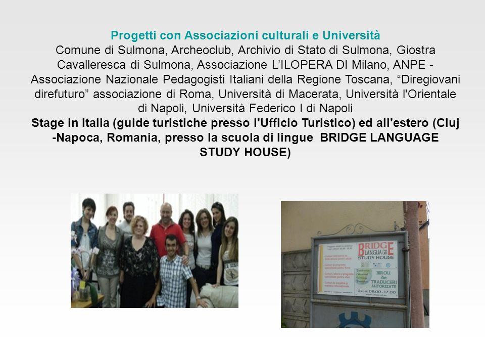 Progetti con Associazioni culturali e Università