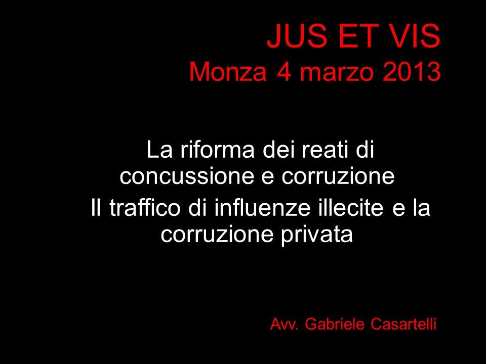 JUS ET VIS Monza 4 marzo 2013 La riforma dei reati di concussione e corruzione. Il traffico di influenze illecite e la corruzione privata.