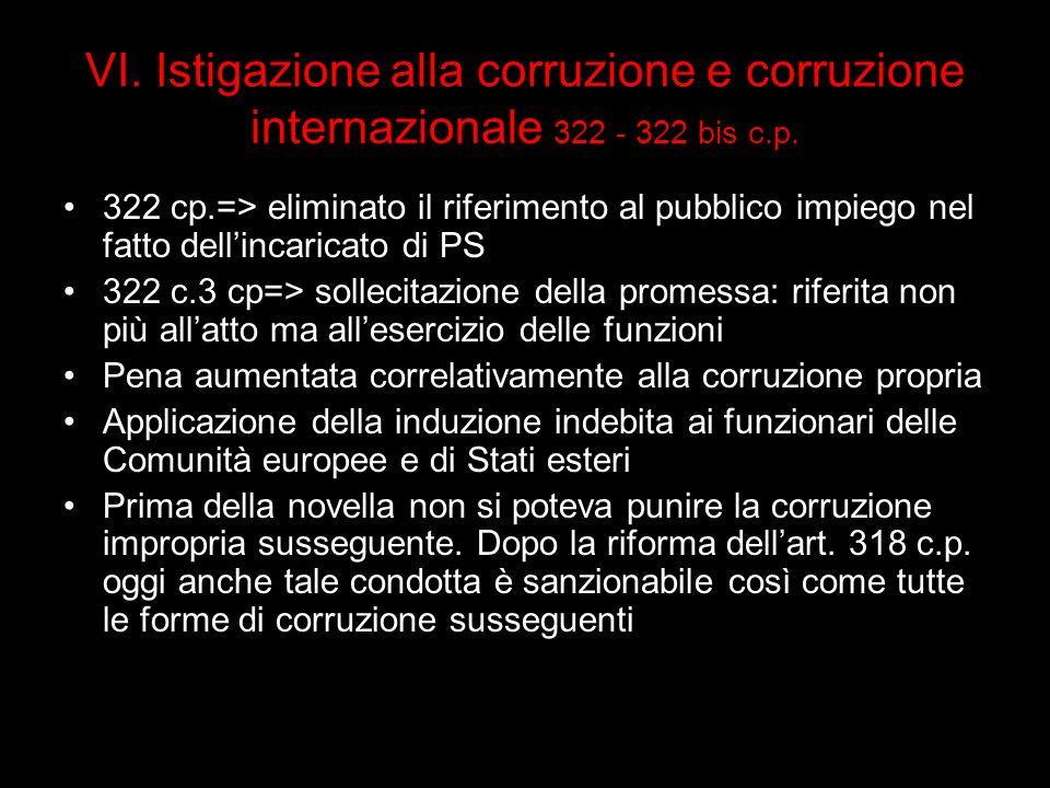 VI. Istigazione alla corruzione e corruzione internazionale 322 - 322 bis c.p.