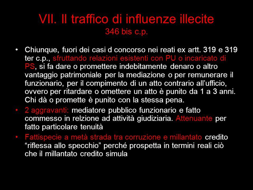 VII. Il traffico di influenze illecite 346 bis c.p.