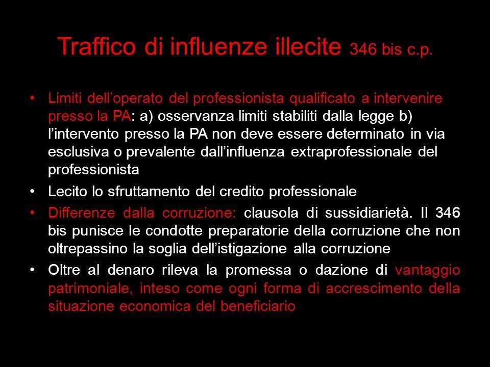 Traffico di influenze illecite 346 bis c.p.