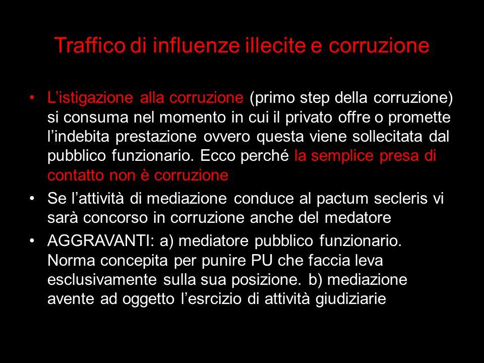 Traffico di influenze illecite e corruzione
