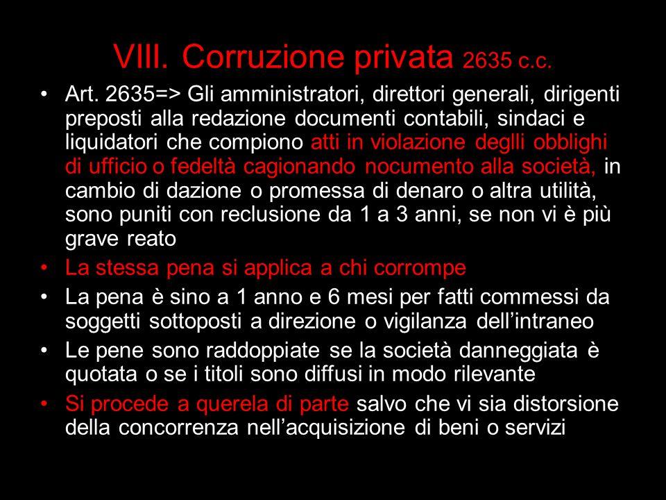 VIII. Corruzione privata 2635 c.c.