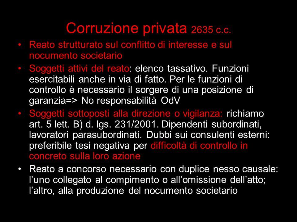 Corruzione privata 2635 c.c. Reato strutturato sul conflitto di interesse e sul nocumento societario.