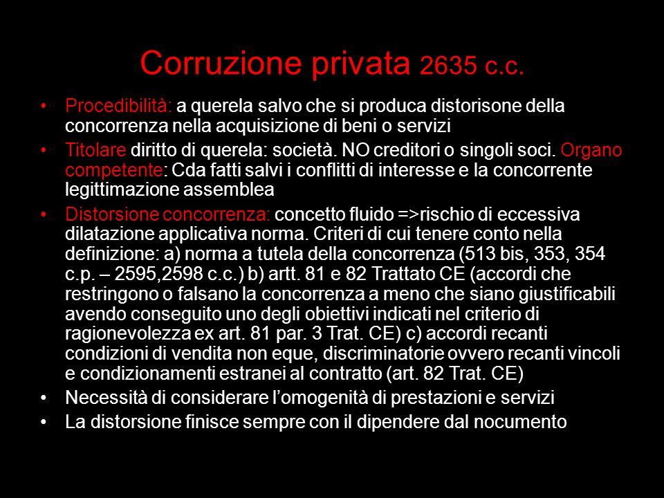 Corruzione privata 2635 c.c. Procedibilità: a querela salvo che si produca distorisone della concorrenza nella acquisizione di beni o servizi.