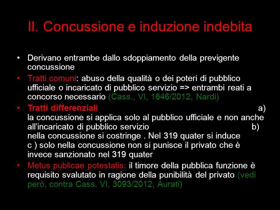 II. Concussione e induzione indebita