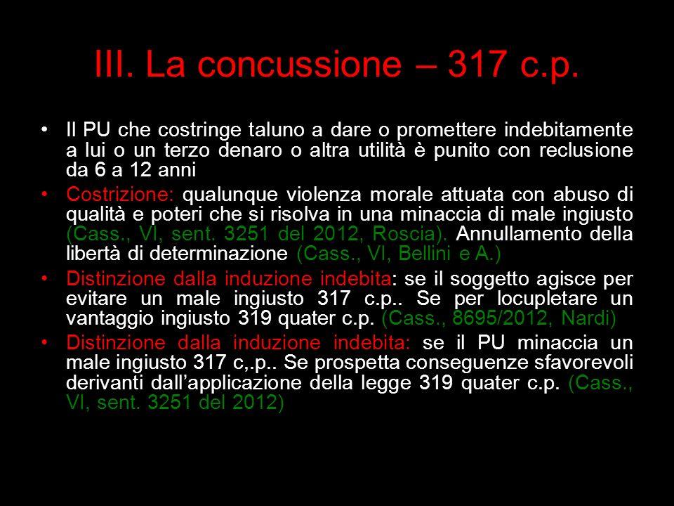 III. La concussione – 317 c.p.