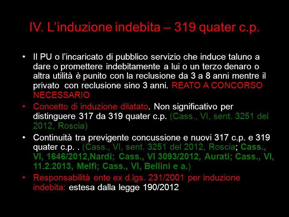 IV. L'induzione indebita – 319 quater c.p.