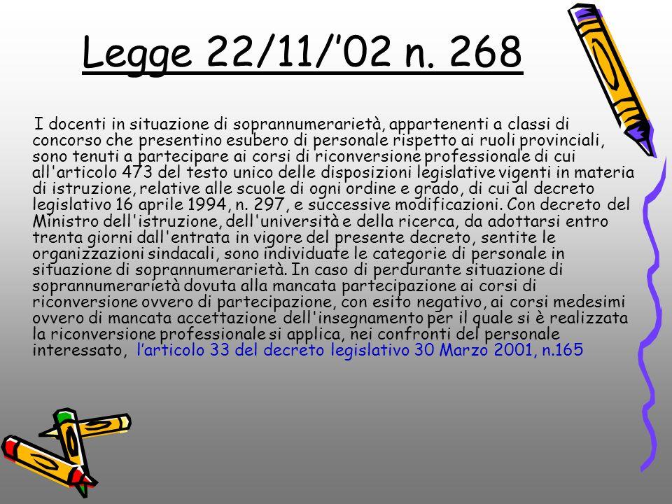 Legge 22/11/'02 n. 268