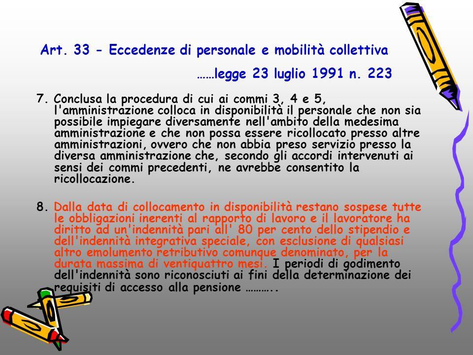 Art. 34-bis legge 3/2003 Art. 33 - Eccedenze di personale e mobilità collettiva. ……legge 23 luglio 1991 n. 223.