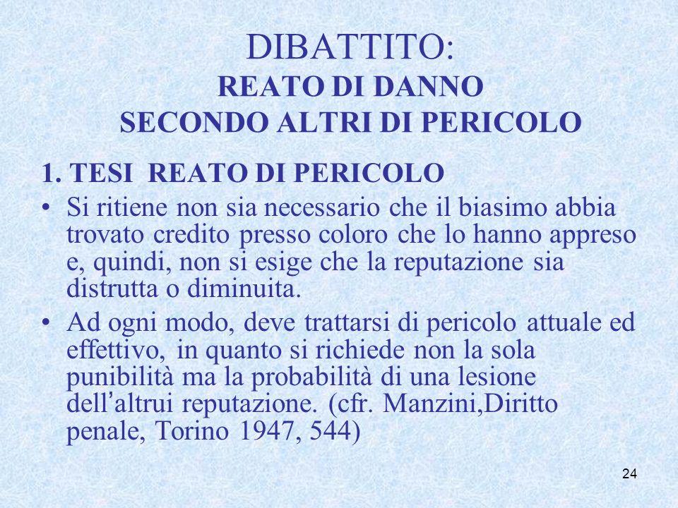 2. Tesi elaborata dalla dottrina REATO di DANNO
