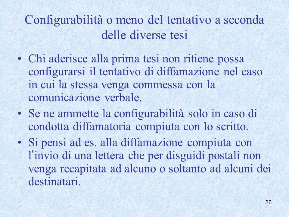 Chi aderisce alla seconda tesi ritiene configurabile il tentativo sia nei casi di comunicazione verbale sia nei casi di comunicazione scritta.