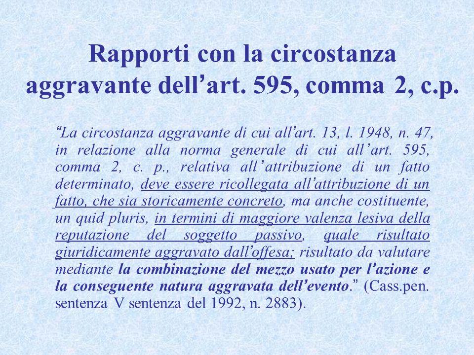 DIFFAMAZIONE AGGRAVATA ART. 595, comma 3, c. p