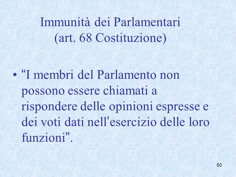 Insindacabilità o irresponsabilità del Parlamentare