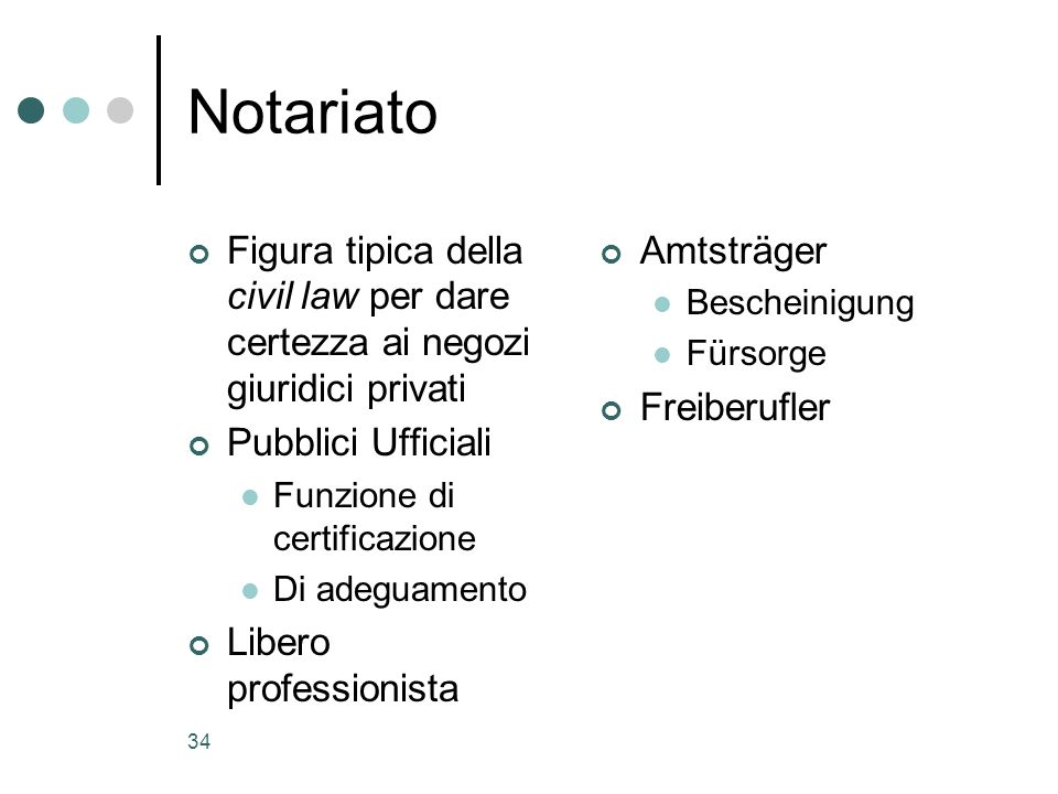 Notariato Figura tipica della civil law per dare certezza ai negozi giuridici privati. Pubblici Ufficiali.