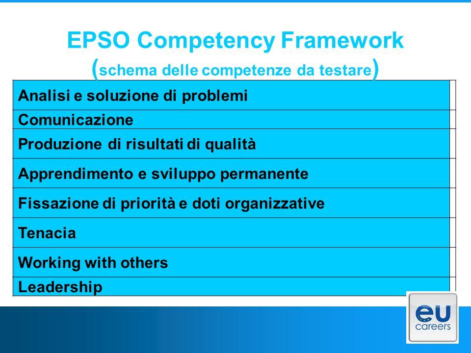EPSO Competency Framework (schema delle competenze da testare)