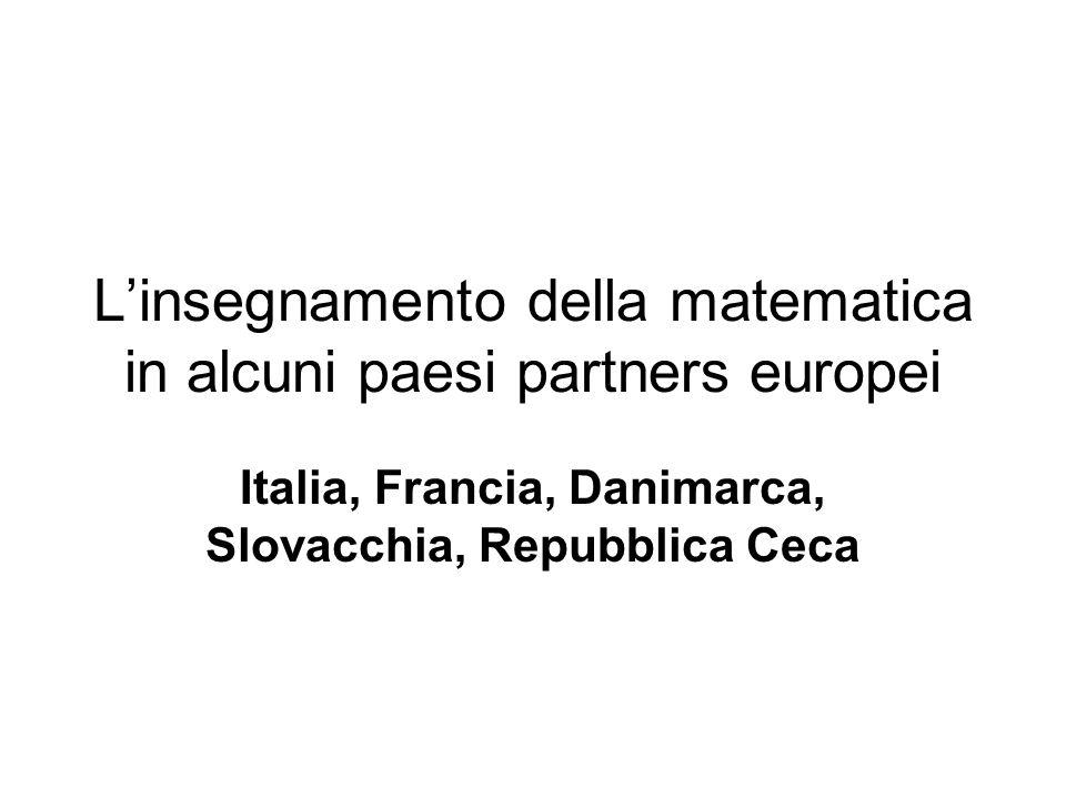L'insegnamento della matematica in alcuni paesi partners europei