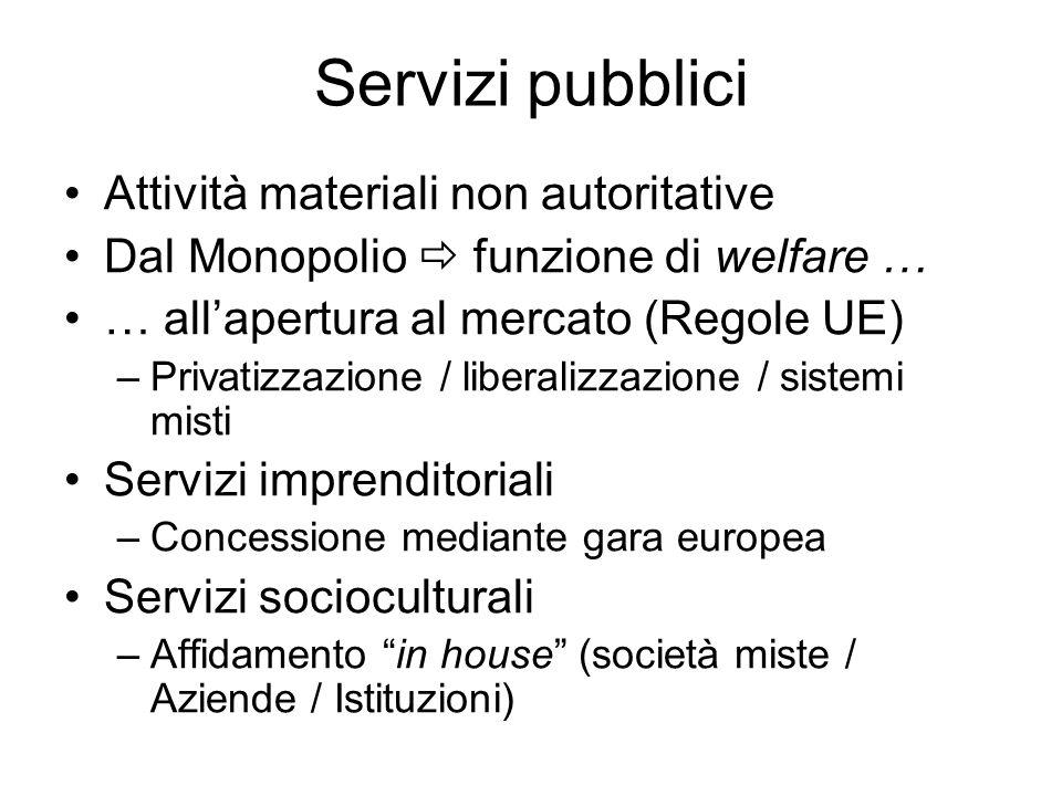 Servizi pubblici Attività materiali non autoritative