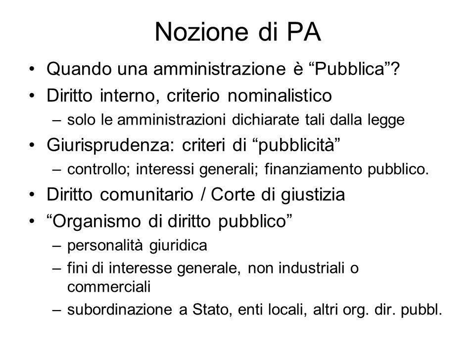 Nozione di PA Quando una amministrazione è Pubblica