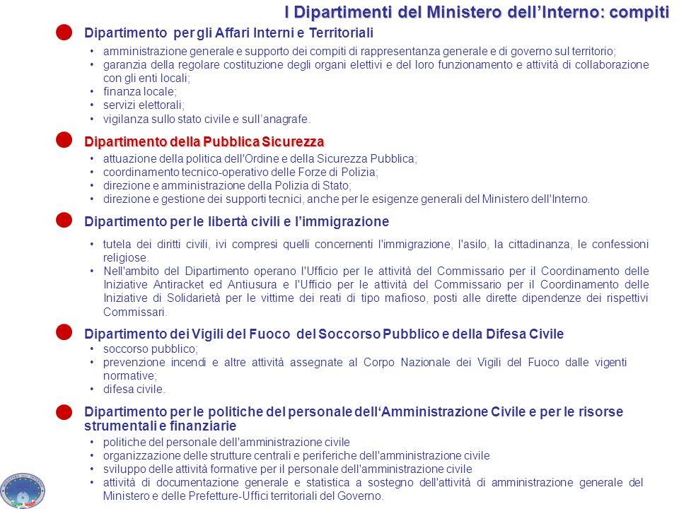 I Dipartimenti del Ministero dell'Interno: compiti