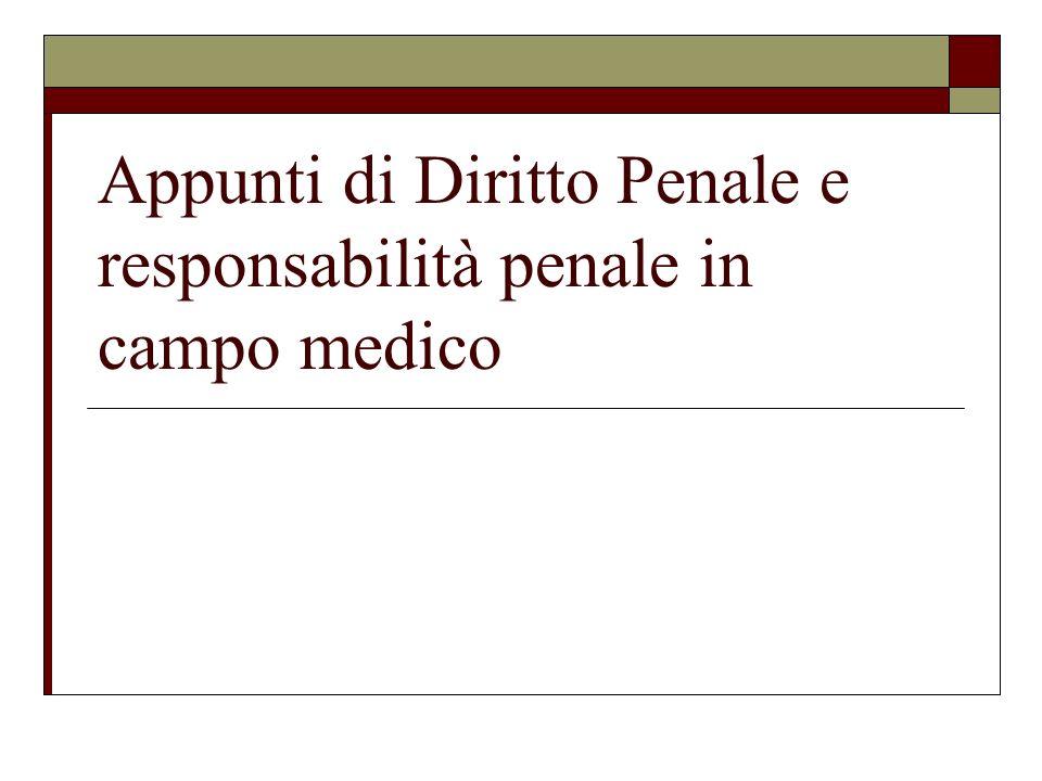Appunti di Diritto Penale e responsabilità penale in campo medico