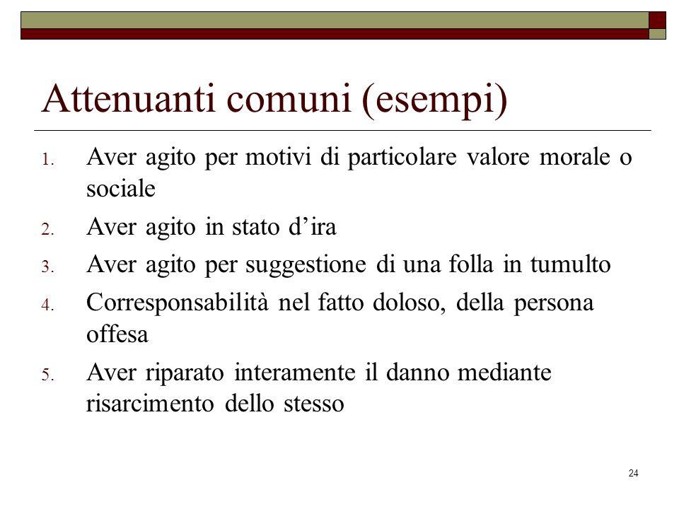 Attenuanti comuni (esempi)
