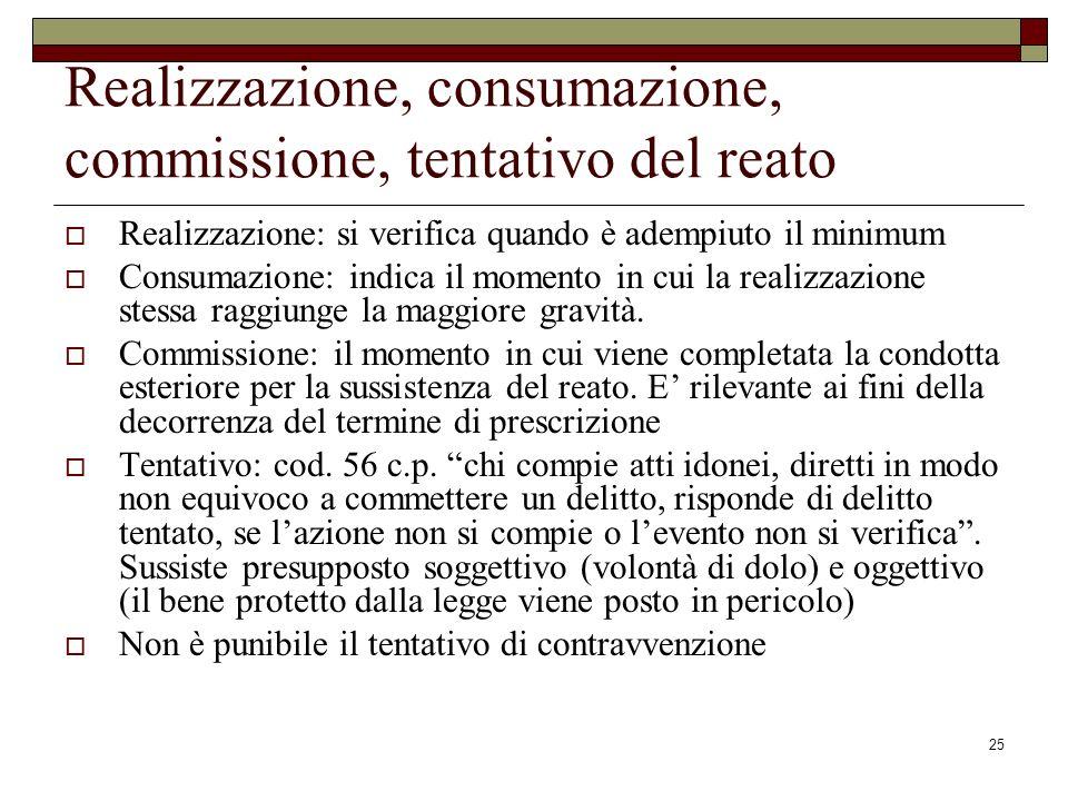 Realizzazione, consumazione, commissione, tentativo del reato