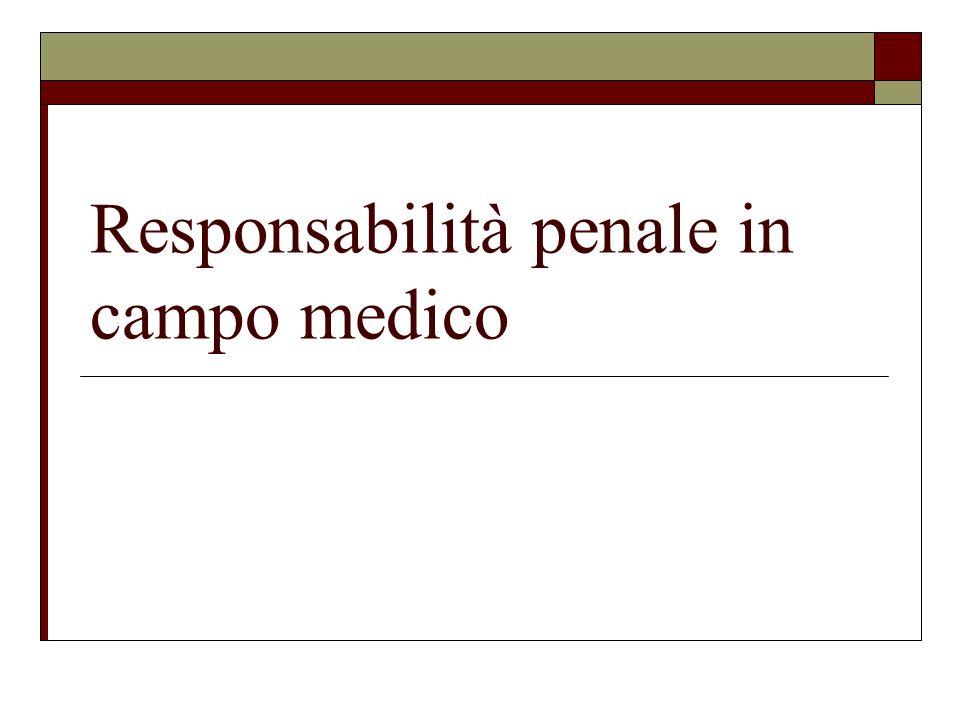 Responsabilità penale in campo medico