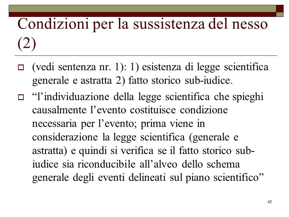 Condizioni per la sussistenza del nesso (2)