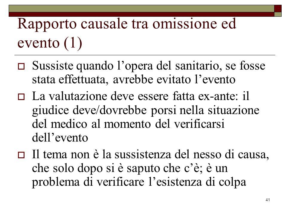 Rapporto causale tra omissione ed evento (1)